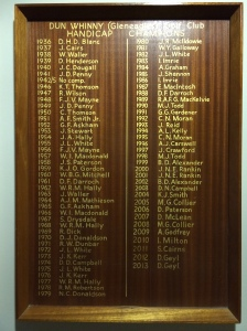 The Handicap Champions' board in The Dormy House