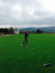 Paul Kelly tees off against the Stirling University students