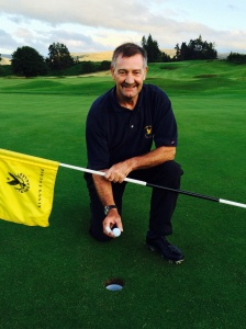 Jim Crawford celebrates his ace on King's 16th hole