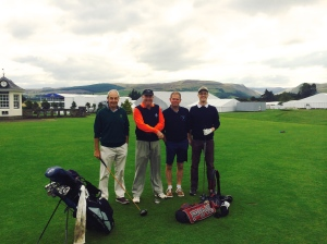 Richard Hally and Colin Moran (the good looking ones on the right) prepare for their match against Bruntsfield